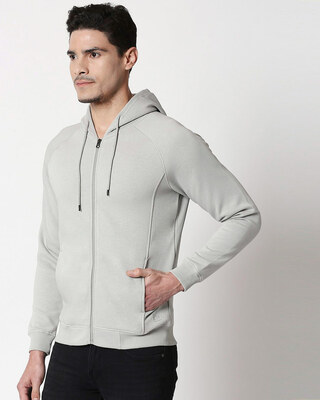 Shop Quiet Grey Stylised Panel Zipper Hoodie-Front