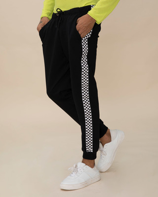 Shop Racing Checks Fleece Sports Trim Joggers-Front
