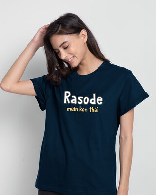 Shop Rasode Me Kon Tha Boyfriend T-Shirt Navy Blue-Front