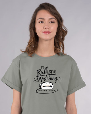 Shop Rather Be Watching Friends Boyfriend T-Shirt (FRL)-Front