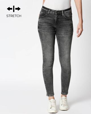 Shop Raven Black Blue Distressed Mid Rise Stretchable Women's Jeans-Front