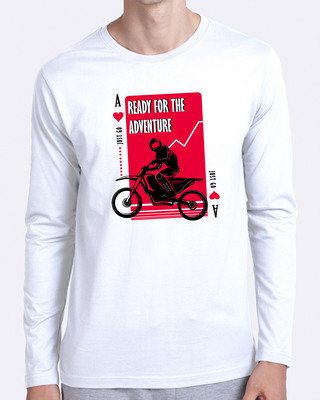 Shop Ready For The Adventure Full Sleeve T-Shirt White-Front