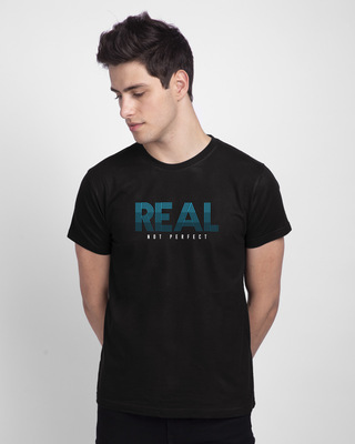 Shop Real Not Perfect Half Sleeve T-shirt Black-Front