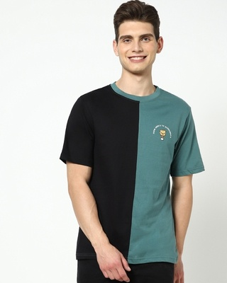 Shop Real Superheroes Men's Printed Color Block Relaxed Fit T-Shirt-Front