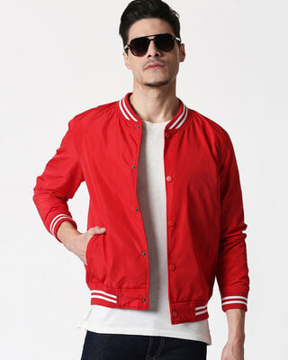 Shop Red Anti Varsity Bomber Jacket-Front
