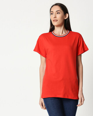 Shop Imperial Red Boyfriend Varsity Rib T-shirt-Front