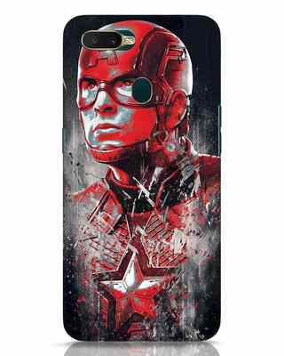 Shop Red Captain America Oppo A7 Mobile Cover-Front