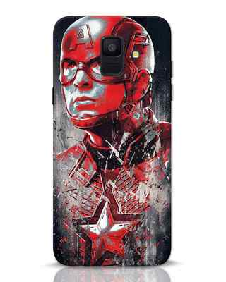 Shop Red Captain America Samsung Galaxy A6 2018 Mobile Cover-Front