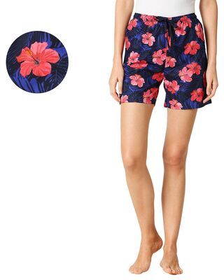 Shop Red Hibiscus Women's Boxer Shorts-Front
