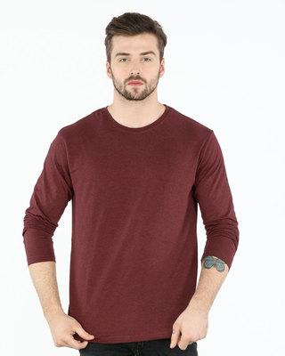 Shop Red Melange Full Sleeve T-Shirt-Front