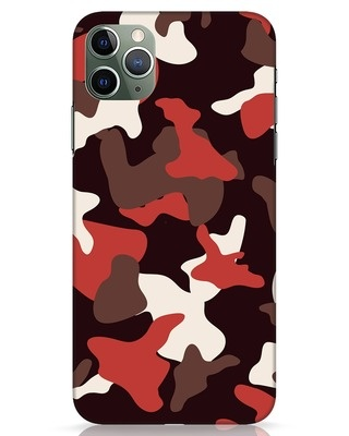 Shop Red Modern Camo iPhone 11 Pro Max Mobile Cover-Front