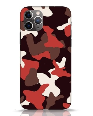 Shop Red Modern Camo iPhone 11 Pro Mobile Cover-Front