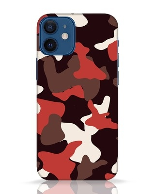 Shop Red Modern Camo iPhone 12 Mini Mobile Cover-Front