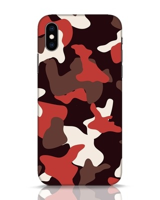 Shop Red Modern Camo iPhone XS Mobile Cover-Front