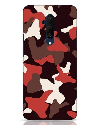 Shop Red Modern Camo OnePlus 7T Pro Mobile Cover-Front