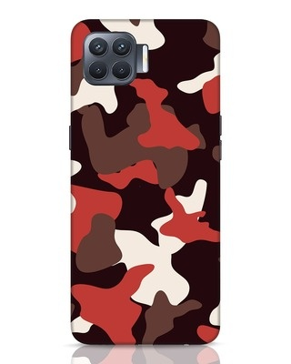 Shop Red Modern Camo Oppo F17 Pro Mobile Cover-Front