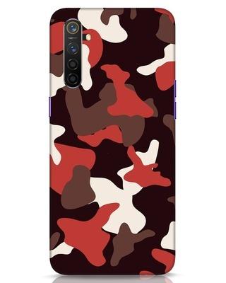 Shop Red Modern Camo Realme 6 Mobile Cover-Front