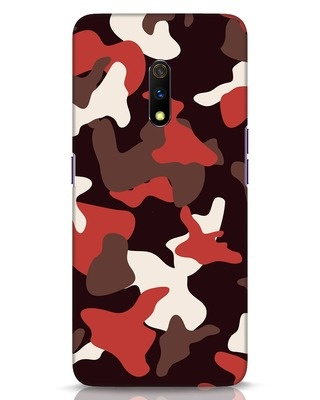 Shop Red Modern Camo Realme X Mobile Cover-Front