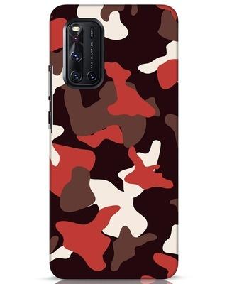 Shop Red Modern Camo Vivo V19 Mobile Cover-Front