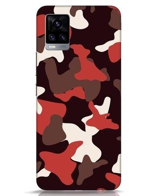 Shop Red Modern Camo Vivo V20 Mobile Cover-Front