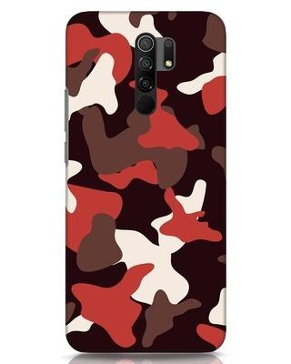 Shop Red Modern Camo Xiaomi Redmi 9 Prime Mobile Cover-Front