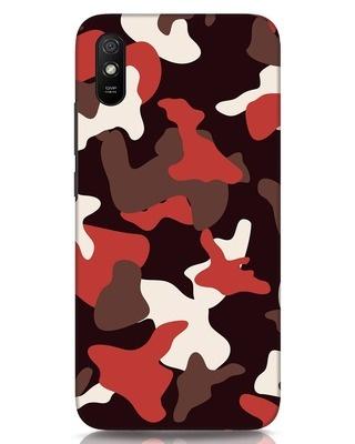 Shop Red Modern Camo Xiaomi Redmi 9A Mobile Cover-Front