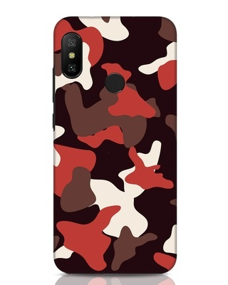 Shop Red Modern Camo Xiaomi Redmi Note 6 Pro Mobile Cover-Front