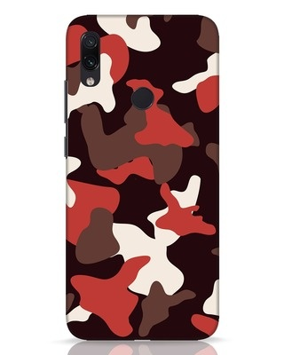 Shop Red Modern Camo Xiaomi Redmi Note 7 Pro Mobile Cover-Front
