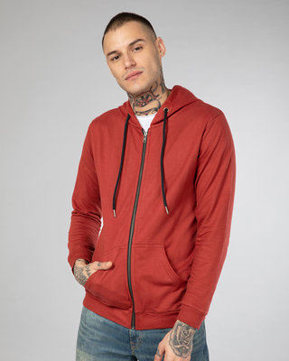 Shop Red Pear Fleece Zipper Hoodies-Front