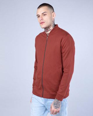 Shop Red Pear Plain Zipper Bomber Jacket-Front