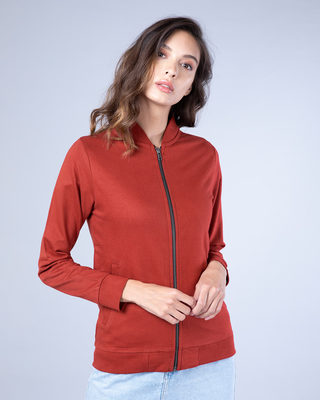 Shop Red Pear Plain Zipper Bomber Jacket-Front