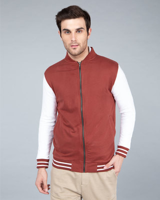Shop Red Pear Varsity Bomber Jacket-Front