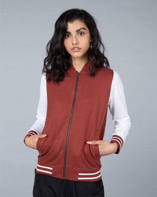 Shop Red Pear Varsity Plain Bomber Jacket-Front