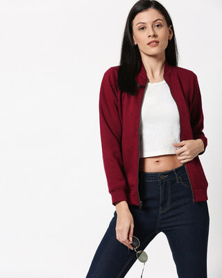 Shop Red Plum AOP Zipper Bomber Jacket-Front