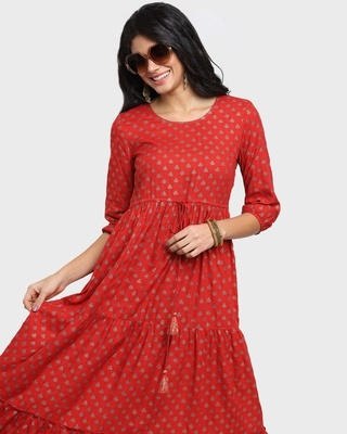 Shop Women's Printed Red Flared Dress-Front