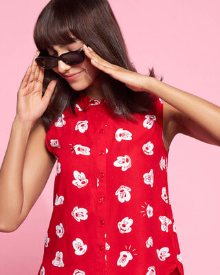 Shop Women's All Over Printed Sleeveless Casual Red Shirt-Front