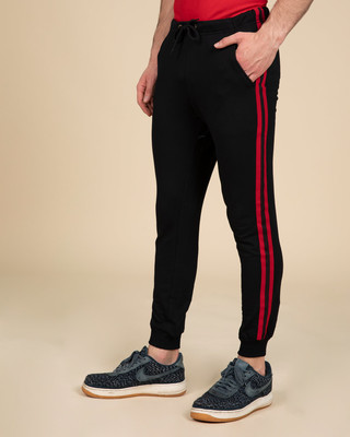Shop Red Stripe Fleece Sports Trim Joggers-Front