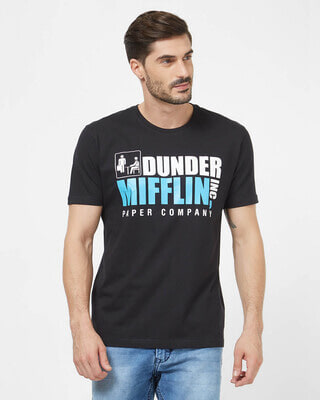 Shop Redwolf Dunder Mifflin Paper Company Cotton Half Sleeves T-Shirt -Front