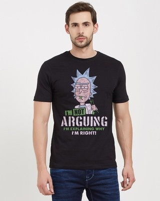 Shop Redwolf I'm Not Arguing Official Rick And Morty Cotton Half Sleeves T-Shirt -Front