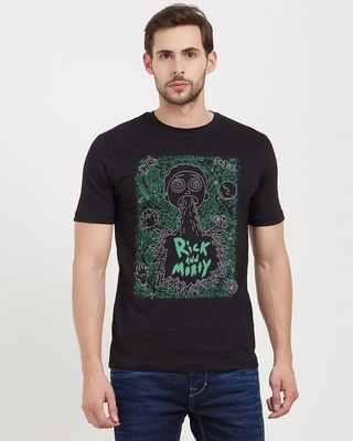 Shop Redwolf Sick & Morty (Glow In The Dark) Official Rick And Morty Cotton Half Sleeves T-Shirt -Front