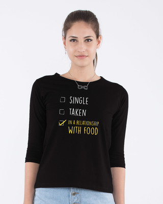 Shop Relationship With Food Round Neck 3/4th Sleeve T-Shirt-Front