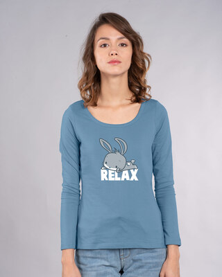 Shop Relax Chibi Bunny Scoop Neck Full Sleeve T-Shirt (LTL)-Front