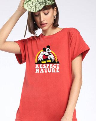 Shop Respect Nature Mickey Women's Printed Boyfriend T-shirt-Front