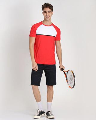Shop Retro Red Color Block T-Shirt-Front