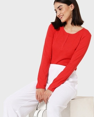 Shop Retro Red Full Sleeve Henley T-Shirt-Front