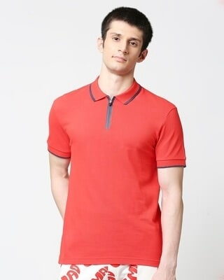 Shop Retro Red Polo T-Shirt-Front