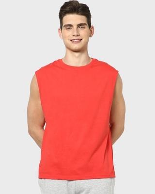 Shop Retro Red Round Vest-Front