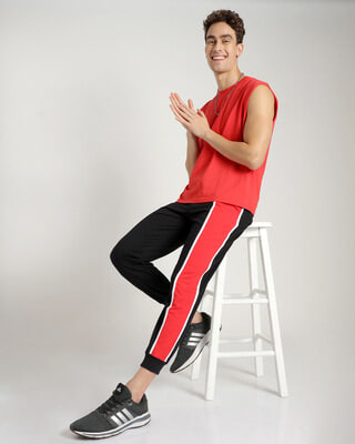 Shop Retro Red Side Panel Joggers-Front