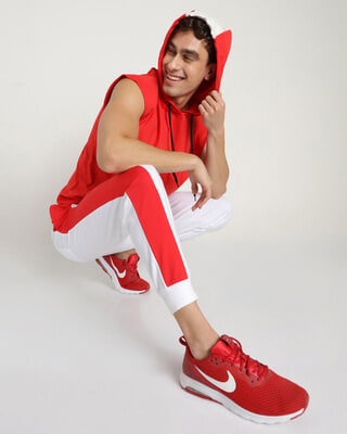 Shop Retro Red Sports Trim Joggers-Front