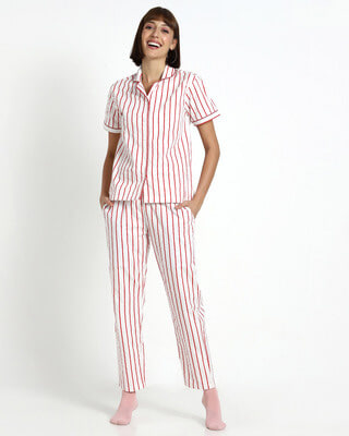 Shop Retro Red Stripe Pyjama-Front